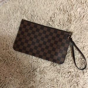 Neverfull Damier Ebene Pouch Brown Canvas Clutch